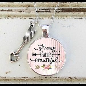 Jewelry - STRONG FEARLESS BEAUTIFUL Pendant Necklace